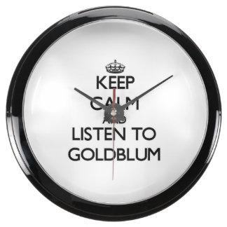 Guarde la calma y escuche Goldblum Relojes Pecera