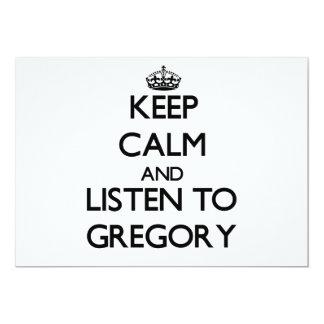 Guarde la calma y escuche Gregory Invitación 12,7 X 17,8 Cm