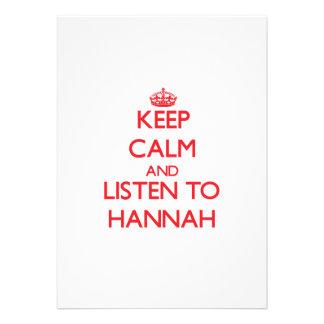 Guarde la calma y escuche Hannah Anuncios