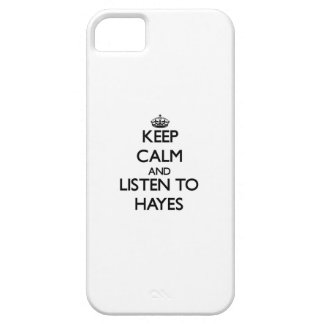 Guarde la calma y escuche Hayes iPhone 5 Carcasas
