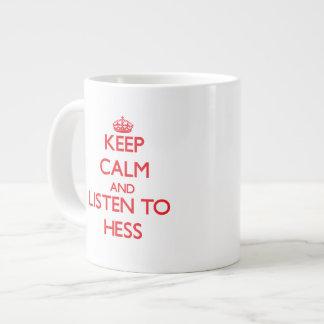 Guarde la calma y escuche Hess Taza Jumbo