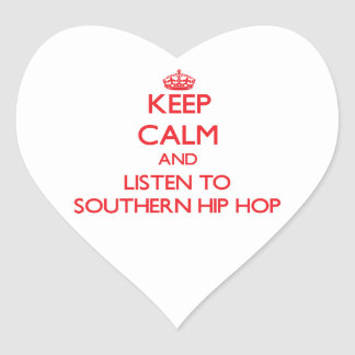 Guarde la calma y escuche HIP HOP MERIDIONAL Pegatina Corazon Personalizadas