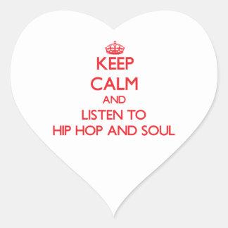 Guarde la calma y escuche HIP HOP Y EL ALMA Pegatina Corazón