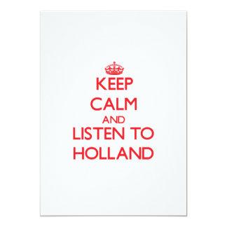 Guarde la calma y escuche Holanda Invitacion Personalizada