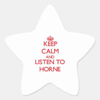 Guarde la calma y escuche Horne Calcomania Cuadrada Personalizada