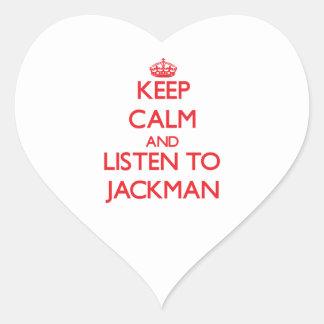Guarde la calma y escuche Jackman Pegatina En Forma De Corazón