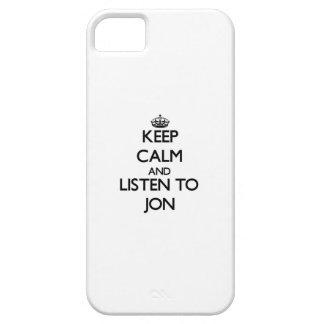 Guarde la calma y escuche Jon iPhone 5 Case-Mate Fundas