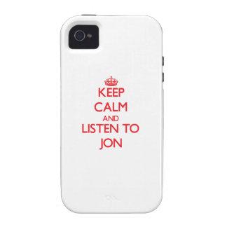 Guarde la calma y escuche Jon Vibe iPhone 4 Funda