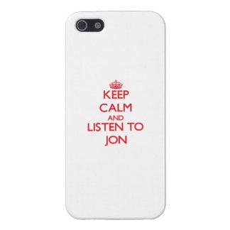 Guarde la calma y escuche Jon iPhone 5 Fundas