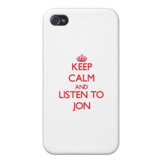 Guarde la calma y escuche Jon iPhone 4 Funda