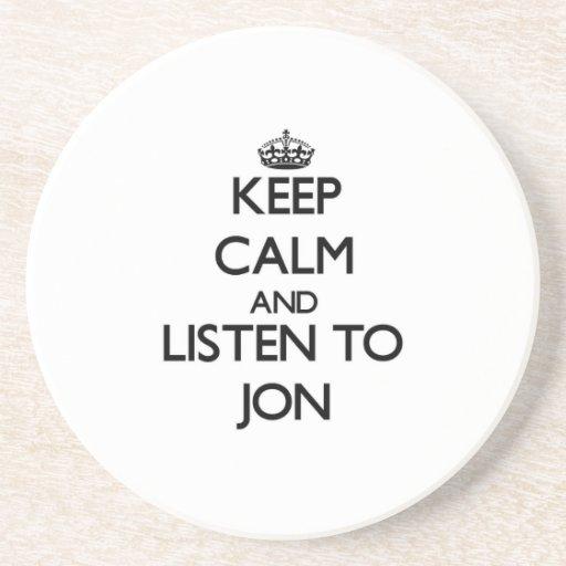 Guarde la calma y escuche Jon Posavasos Diseño
