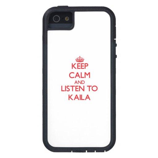 Guarde la calma y escuche Kaila iPhone 5 Case-Mate Fundas