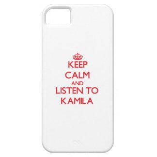 Guarde la calma y escuche Kamila Funda Para iPhone 5 Barely There