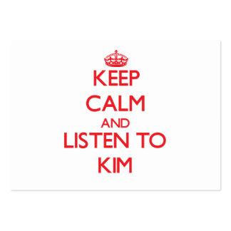 Guarde la calma y escuche Kim Tarjetas De Visita