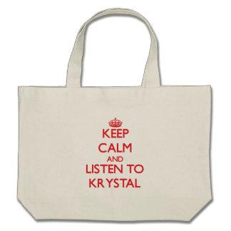 Guarde la calma y escuche Krystal Bolsa De Mano
