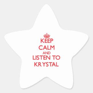Guarde la calma y escuche Krystal Pegatina En Forma De Estrella