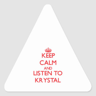 Guarde la calma y escuche Krystal Pegatina Triangular