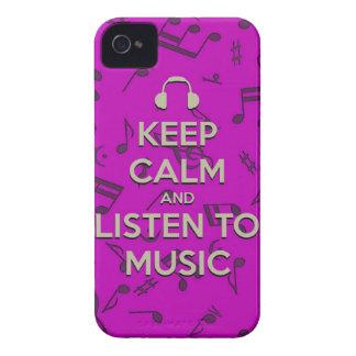 guarde la calma y escuche la caja del teléfono de  iPhone 4 Case-Mate protectores