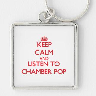 Guarde la calma y escuche la CÁMARA POP Llaveros
