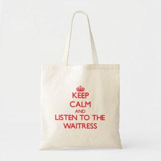 Guarde la calma y escuche la camarera bolsa lienzo