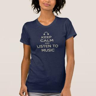 guarde la calma y escuche la camiseta de la música playeras