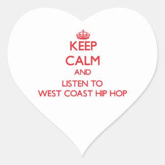 Guarde la calma y escuche la COSTA OESTE HIP HOP Pegatinas Corazon Personalizadas