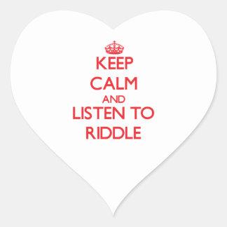 Guarde la calma y escuche la criba colcomanias corazon personalizadas
