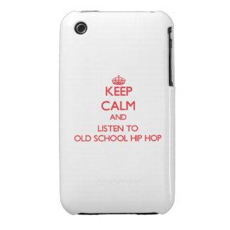 Guarde la calma y escuche la ESCUELA VIEJA HIP HOP Case-Mate iPhone 3 Cárcasas