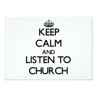 Guarde la calma y escuche la iglesia invitacion personalizada
