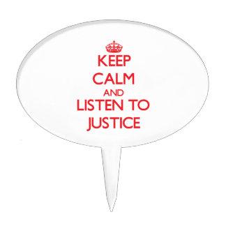 Guarde la calma y escuche la justicia decoraciones para tartas