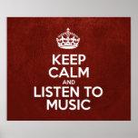 Guarde la calma y escuche la música - cuero rojo b