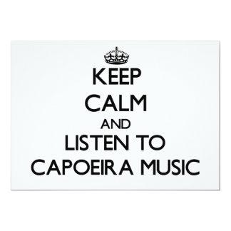 Guarde la calma y escuche la MÚSICA de CAPOEIRA Invitación 12,7 X 17,8 Cm