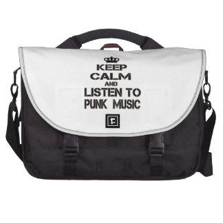 Guarde la calma y escuche la música punky bolsa para ordenador