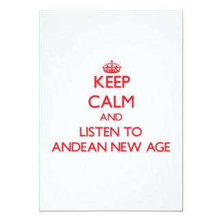 """Guarde la calma y escuche la NUEVA EDAD ANDINA Invitación 5"""" X 7"""""""