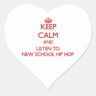 Guarde la calma y escuche la NUEVA ESCUELA HIP HOP Pegatina De Corazon Personalizadas