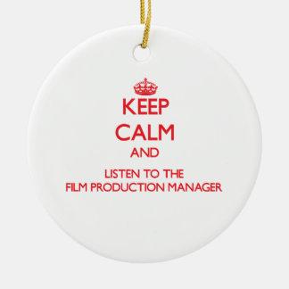 Guarde la calma y escuche la producción de la adornos de navidad