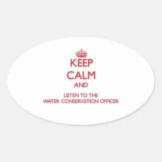 Guarde la calma y escuche la protección de agua ap pegatina de ovaladas