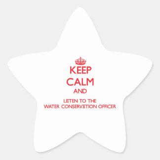 Guarde la calma y escuche la protección de agua ap pegatina forma de estrella personalizadas