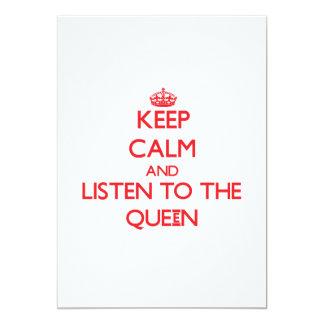Guarde la calma y escuche la reina invitacion personalizada