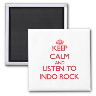 Guarde la calma y escuche la ROCA de INDO Imanes De Nevera