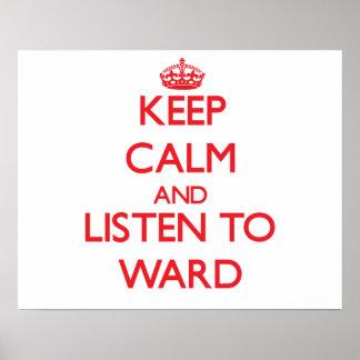 Guarde la calma y escuche la sala posters