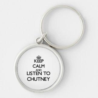 Guarde la calma y escuche la SALSA PICANTE Llavero Personalizado