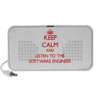 Guarde la calma y escuche la Software Engineer Altavoces De Viaje