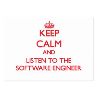 Guarde la calma y escuche la Software Engineer Tarjetas De Visita Grandes