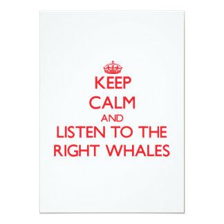 """Guarde la calma y escuche las ballenas derechas invitación 5"""" x 7"""""""