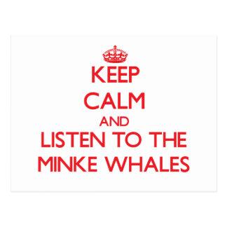 Guarde la calma y escuche las ballenas pequeñas postales