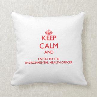 Guarde la calma y escuche las higienes ambientales almohadas