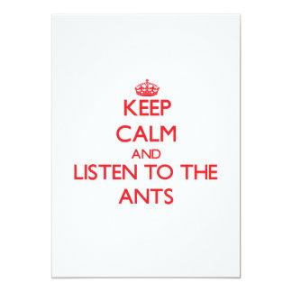 """Guarde la calma y escuche las hormigas invitación 5"""" x 7"""""""