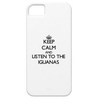 Guarde la calma y escuche las iguanas iPhone 5 protector