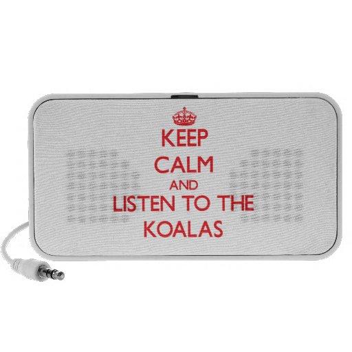 Guarde la calma y escuche las koalas portátil altavoz